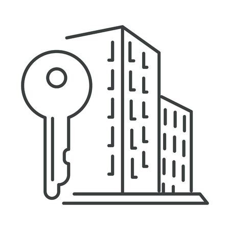 City apartment building and key isolated icon, real estate Ilustrace