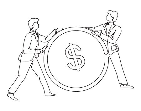 Businessmen with coin, profit and money, finance and banking isolated outline drawing