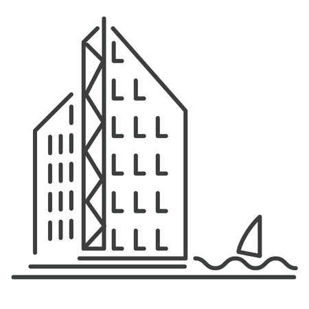 Skyscraper or office building isolated icon, apartment house