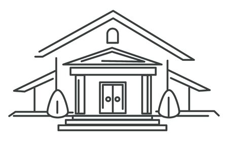 Private house or mansion, real estate isolated icon, residential building