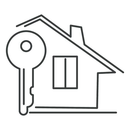 Private house and key, real estate isolated linear icon