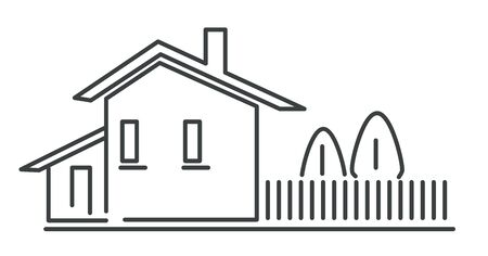 House building isolated outline icon, real estate 写真素材 - 129770782