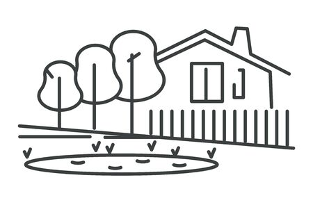 Private house isolated icon, suburban building with fence