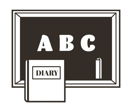 Chalkboard or blackboard with chalk and diary isolated object, abc letters