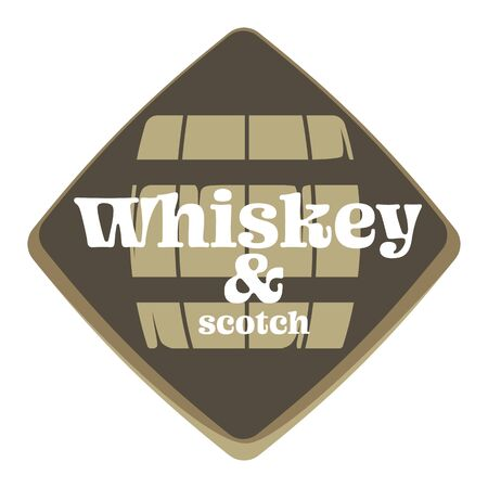 Whiskey and scotch factory or brewery isolated icon, alcohol drink