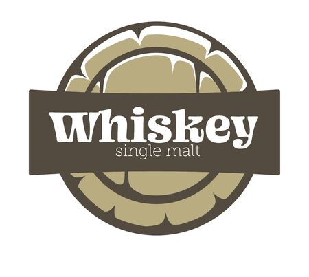 Whiskey house isolated icon, wooden barrel top