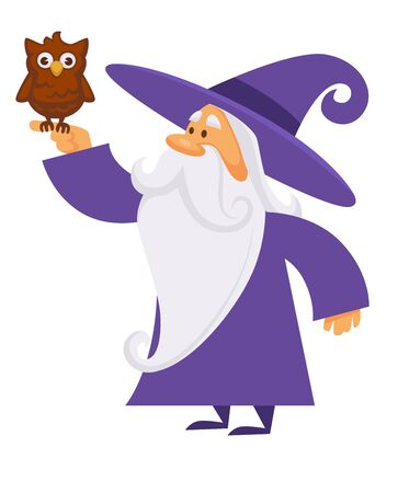 Owl bird on hand of wizard making magic, isolated character