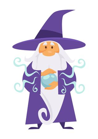 Wizard or magician, witchcraft and crystal ball, isolated fairytale character