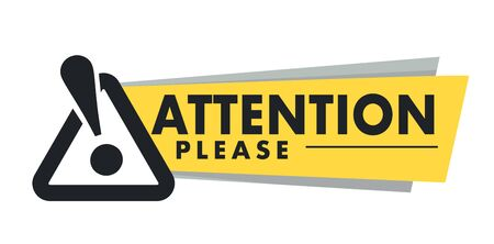 Attention please isolated icon, important announcement and exclamation mark Stock Illustratie