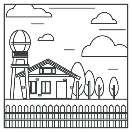 Countryside farm house and water tower, farming and agriculture Ilustração