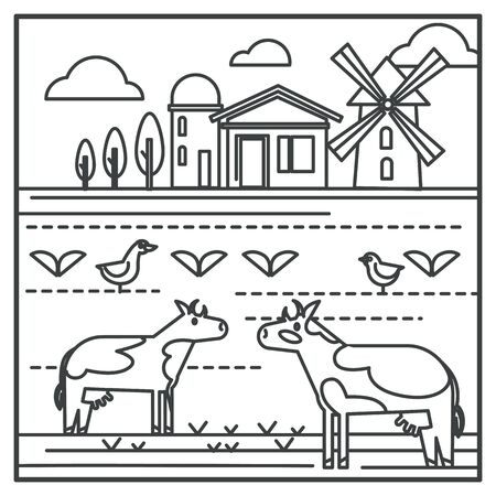 Livestock animals and mill, country house and water tower