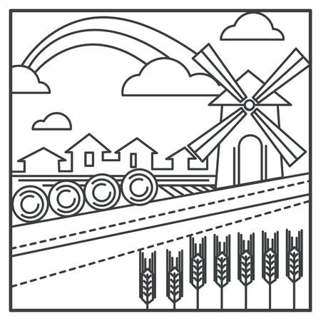 Wheat field and mill, hay bales and village houses Ilustração