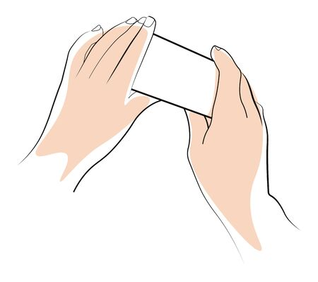 Hands holding object template, palms position and paper piece squeezing
