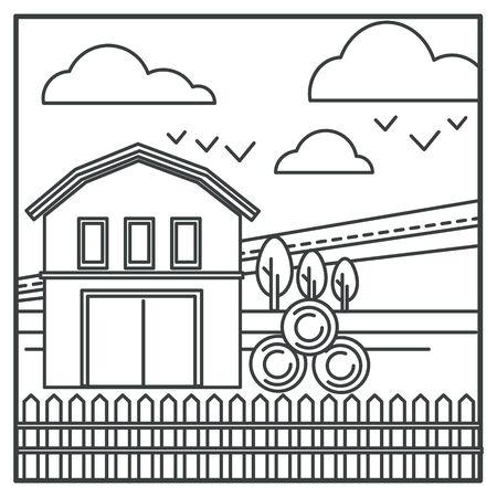 Hay bales and barn, village field or countryside landscape Ilustração