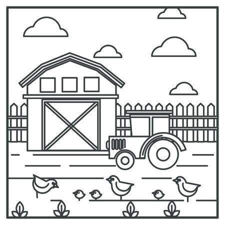 Rural landscape, barn and tractor, chickens with hen, farmland