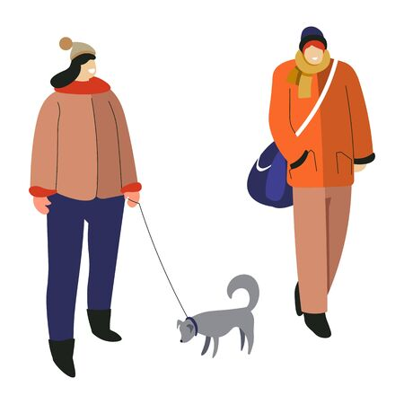 Winter activity, woman walking with dog and guy with bag