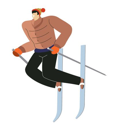 Mountain skiing sport, man on skies with sticks isolated character