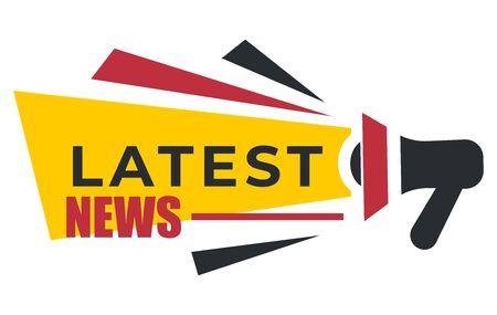 Ikona na białym tle megafonu, najnowsze wiadomości i raport zerwania