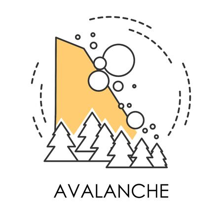 Snowslide or avalanche, natural disaster isolated icon, snowslip