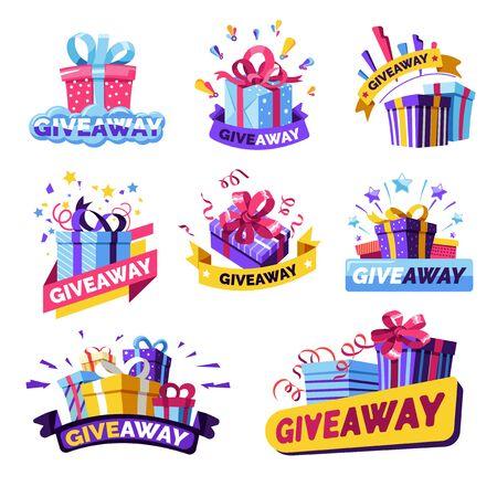 Giveaway icônes isolées, prix du concours de médias sociaux
