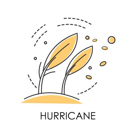 Natural disaster, hurricane on coast, wind storm bending trees isolated icon