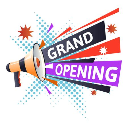 Marketing business, grand opening isolated icon, bullhorn