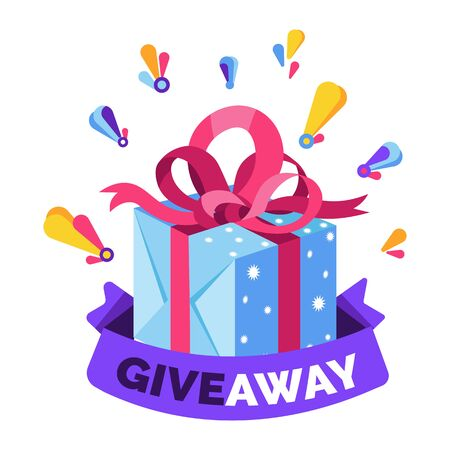 Gift box, giveaway isolated icon, social media or website Vector Illustration
