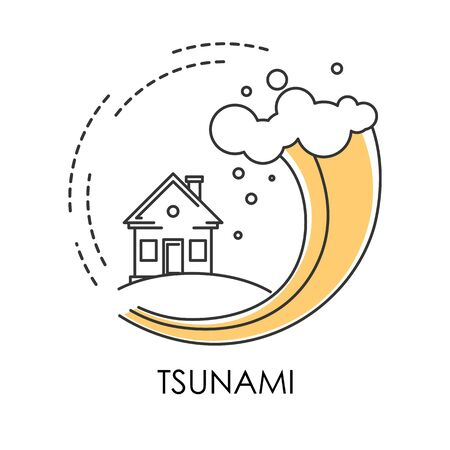 Tsunami isolated icon, wave covering house, flood