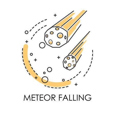 Meteor falling, natural disaster, meteorite or cosmic body Illustration