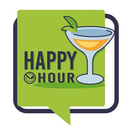 Happy hour isolated icon, bar or pub, martini or daiquiri in glass Ilustração