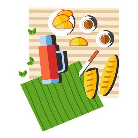 Picnic food and drink on blanket, summer outdoor activity Vectores