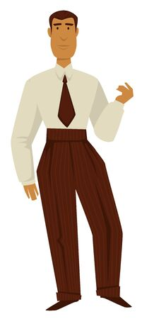 Man in 50s retro clothes, 1950s fashion, isolated male character
