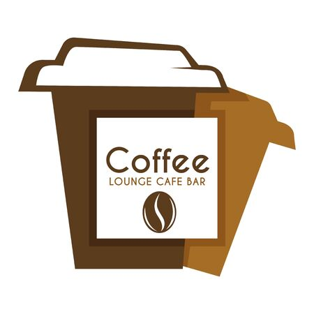 Coffee in takeaway or takeout cup isolated icon, energetic drink
