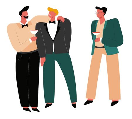 Wedding day, groom with friends, bestman and groomsmen or ushers Vector Illustration