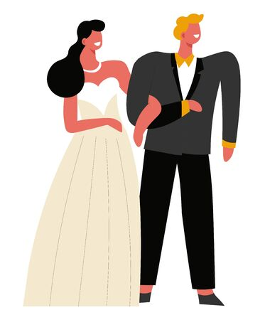 Bride and groom, wedding day and marriage ceremony isolated characters vector. Woman in gown and man in tuxedo, family creation and love, party celebration. Husband and wife, newlyweds and honeymoon