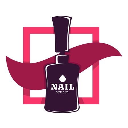 Nail studio isolated icon, varnish or polish bottle