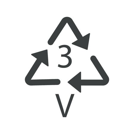 V 3 recyclable product symbol, plastic recycling triangle