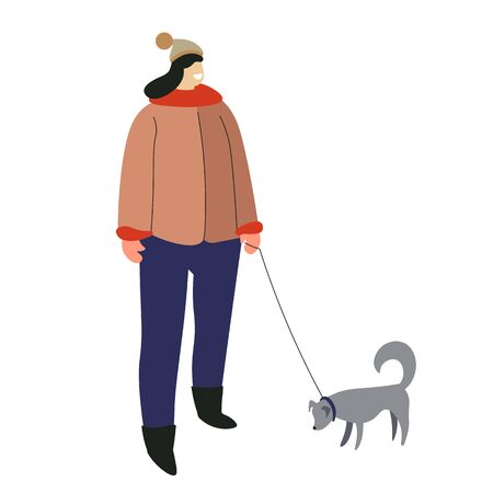 Winter outdoor activity, woman with dog on leash, isolated character