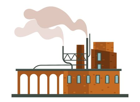 Air pollution, factory or plant, industrial smog isolated construction