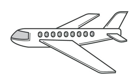 Air transportation and airplane isolated icon, plane or liner