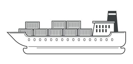 Freight shipping and cargo ship, water transport and containers