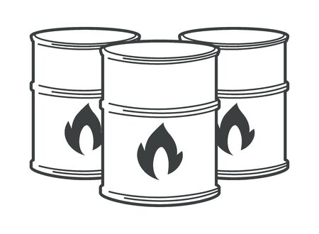 Flammable barrels, oil or biofuel, explosive chemicals isolated icon