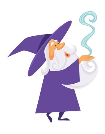Magician or wizard and magic smoke or spell, old witch man