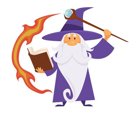 Wizard, old witch man in robe with scepter and flame trace, magic spell book magician isolated character vector. Medieval sorcerer merlin, male witchcraft. Hat and mantle. mystery, elderly with beard
