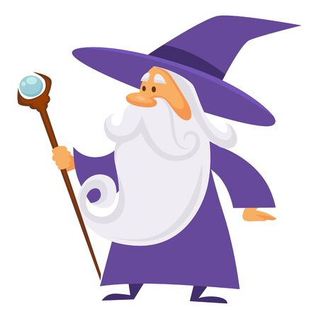 Wizard with scepter, magician and sorcerer, warlock man in robe and magic stick, isolated character vector. Magic medieval spelling, merlin. Male witchcraft, hat and mantle, mystery and spell