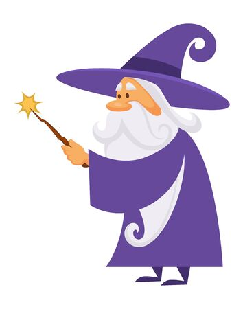 Wizard holding a magic wand with star, magician and sorcerer isolated character vector. Warlock man in robe and magical stick, magic medieval spelling, merlin. Male witchcraft, hat and mantle, mystery