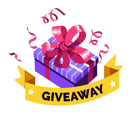 Giveaway for promo in social network, advertizing of giving present, like or repost isolated icon vector. Business account, gift box, winner. Social media post, surprise package, subscribers reward