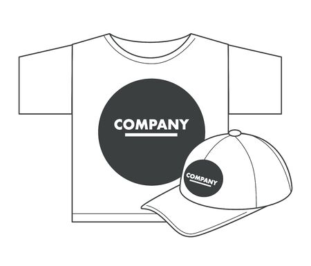 Corporate identity template on t-shirt and cap, printing studio or typography isolated objects vector. Clothes customized design, headdress and garment. Branding wear, shirt and hat, uniform Illustration