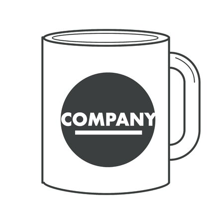 Business corporate identity on souvenir cup or mug isolated object