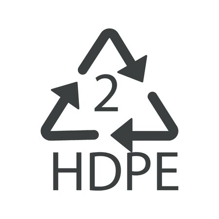 Recycling symbol, plastic HDPE 2 recyclability type, recycle arrows